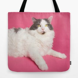 Cat on Pink Centerfold Tote Bag