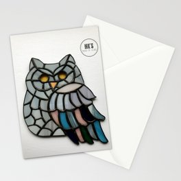 Grey Pastel Owl Stationery Cards