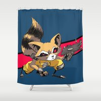 rocket raccoon Shower Curtains featuring ROCKET RACCOON by Walko
