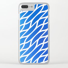 Blue Diagonal Pattern Clear iPhone Case