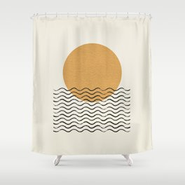 Ocean wave gold sunrise - mid century style Shower Curtain