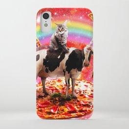 Space Cat Riding Cow Unicorn - Pizza & Taco iPhone Case