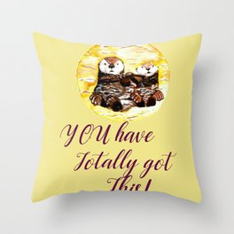 Motivation Otters Throw Pillow