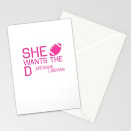 She Wants the Defensive Lineman Funny Football T-shirt Stationery Cards