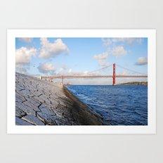 April bridge in Lisbon Art Print