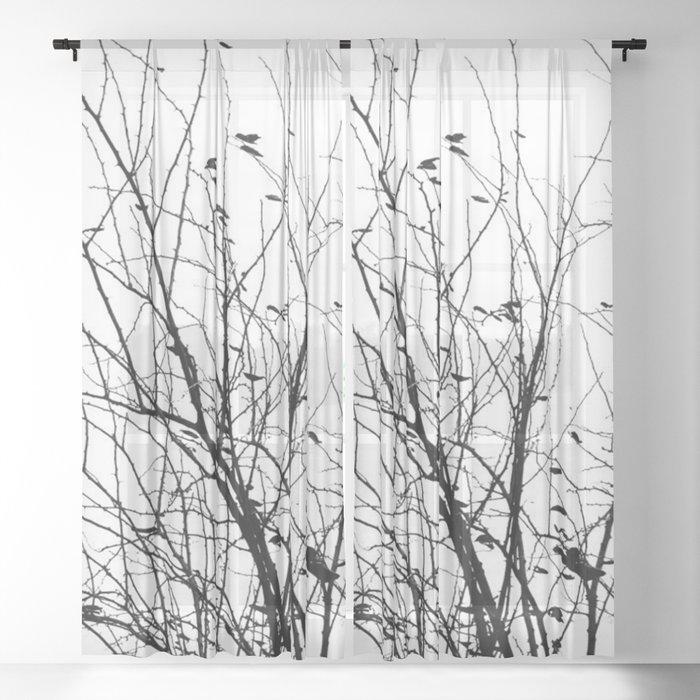 Bird Nature Pattern Sheer Curtain