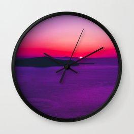 purple sunset in Fira Santorini Wall Clock