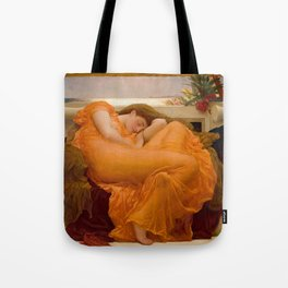 Flaming June Oil Painting by Frederic Lord Leighton Tote Bag