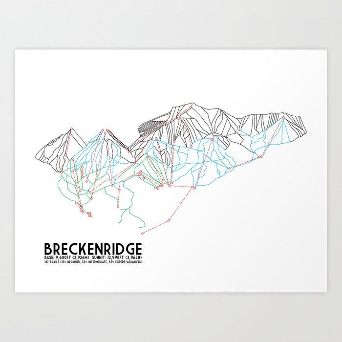 Breckenridge, CO - Minimalist Trail Map Kunstdrucke