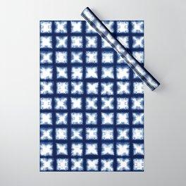Indigo Shibori Granny Squares Wrapping Paper