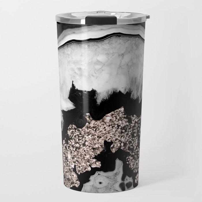 Gray Black White Agate with Rose Gold Glitter #1 #gem #decor #art #society6 Travel Mug