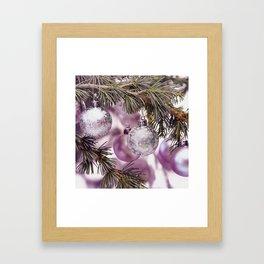 Pink Christmas shimmering baubles twig Framed Art Print