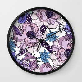 Cute beautiful floral seamless pattern. Ultraviolet roses, violas and meadow flowers. Wall Clock