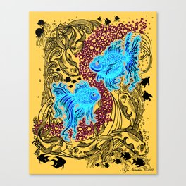 """Under the Sea"" (white graphics on blue background) Canvas Print"