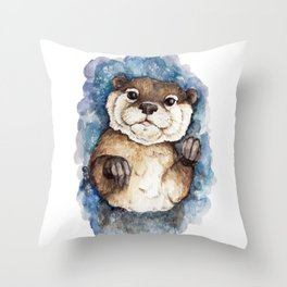Watercolor Otter Throw Pillow