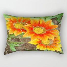 Three Bright Colored Gazania Flowers and Garden Rectangular Pillow