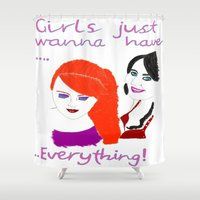girls Shower Curtains featuring Girls by jt7art&design