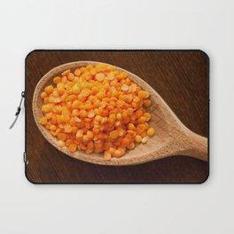 Healthy food red lentils on wooden spoon Laptop Sleeve