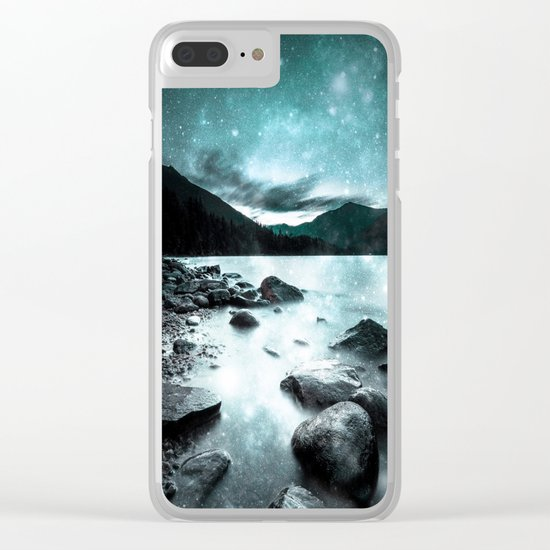Magical Mountain Lake Teal Ice Clear iPhone Case