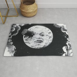 Vintage 1902 'Man in the Moon' silent film black and white photography Rug