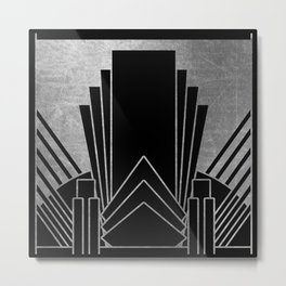Art deco design - silver glitz Metal Print