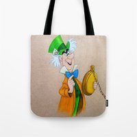 mad hatter Tote Bags featuring Mad Hatter by Sierra Christy Art