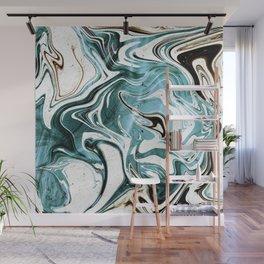 Liquid Teal Marble Wall Mural