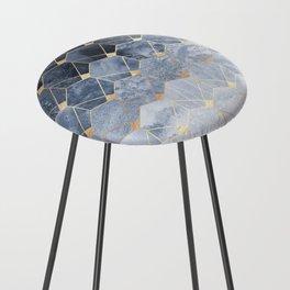 Blue Hexagons And Diamonds Counter Stool