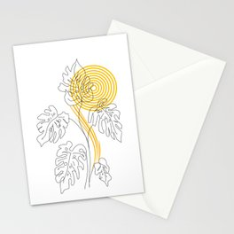 Monstera line Art Stationery Cards