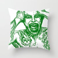 jared leto Throw Pillows featuring The Joker. Suicide Squad (Jared Leto) by KINGart