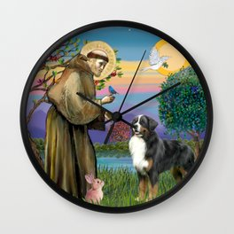 Saint Francis Blesses a Bernes Mountain Dog Wall Clock