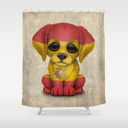 Cute Puppy Dog with flag of Spain Shower Curtain