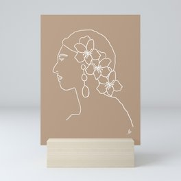 Ana (White and brown portrait with flowers) Mini Art Print