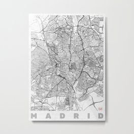 Madrid Map Line Metal Print