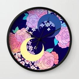 Floral Moon Wall Clock