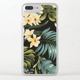 Hawaiian tropical floral palms pattern Clear iPhone Case