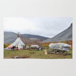 Camp of reindeer herders in national park Yugyd Va in Russia. Rug