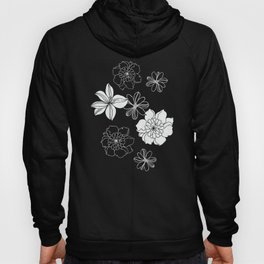 Black and white flowers Hoody
