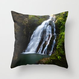 Stuning waterfall with sunlight glow Throw Pillow