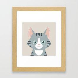 Grey Tabby Cat Framed Art Print