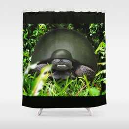Slow Commando - Army Turtle Shower Curtain