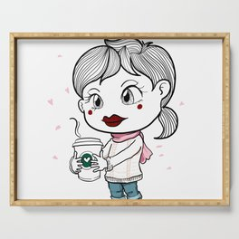 I love to drink coffee with blossom flower. Serving Tray