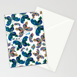 Colorful Seamless Butterfly  Pattern Stationery Cards