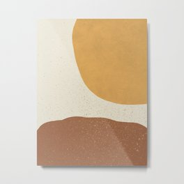 Minimalist Painting - Gold Brown Metal Print