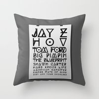 jay z Throw Pillows featuring Eye Test - JAY Z by Studio Samantha