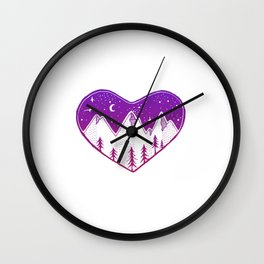 Heart In The Mountains - Darker Palette Wall Clock
