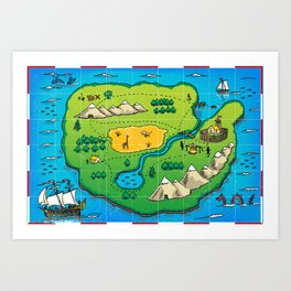 Old pirate's map Art Print