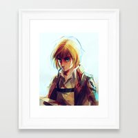 mikasa Framed Art Prints featuring Armin Arlert by viria