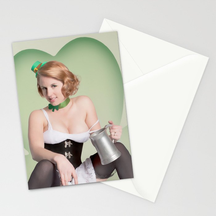 """""""Luck of the Irish"""" - The Playful Pinup - St. Patrick's Day Pinup Girl by Maxwell H. Johnson Stationery Cards"""
