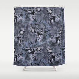 Abstract black blue pattern Shower Curtain